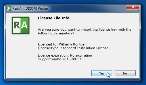 License key import