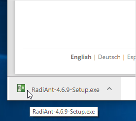 Click RadiAnt installer in a webbrowser